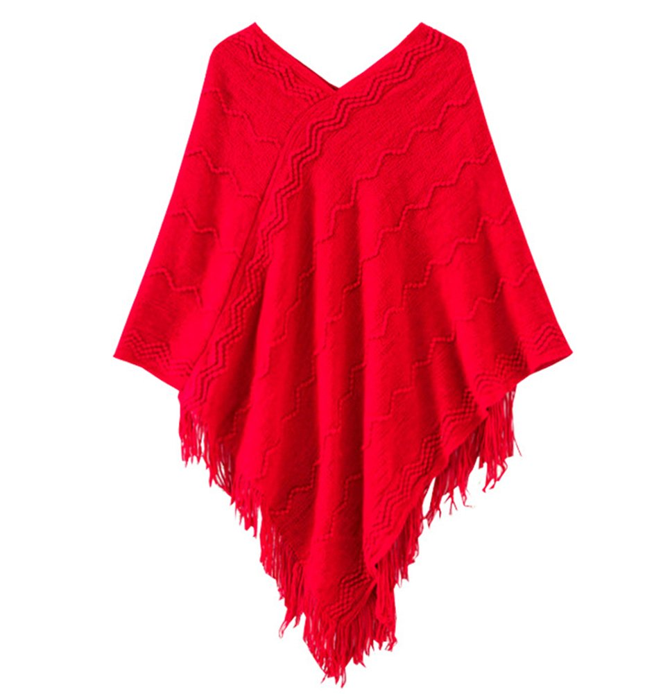Sunnywell Womens Knitted Poncho Cape With Tassel Batwing Pullover Sweater S2AFZS0113-1