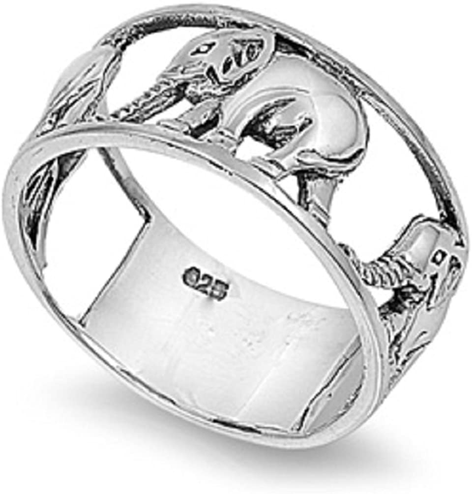 CloseoutWarehouse Sterling Silver Elephant Carousel Ring (Sizes 5-15)
