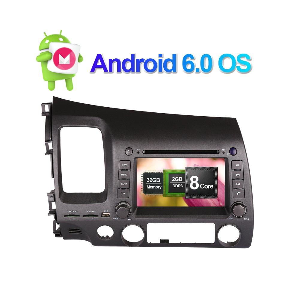 17,8cm Android 6.0Octa Core 2Go de RAM 32Go de ROM 2DIN Autoradio stéréo avec navigation GPS pour Honda Civic Left Driving 2006–2011support radio RDS AM/FM, 3G/WiF