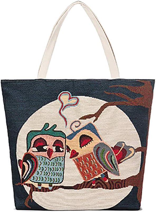 Drawihi Serie di Gufo Borsa Tote per la Spesa da Donna Shopper Borse in Tela Ecocompatibile Riutilizzabile 38 35cm