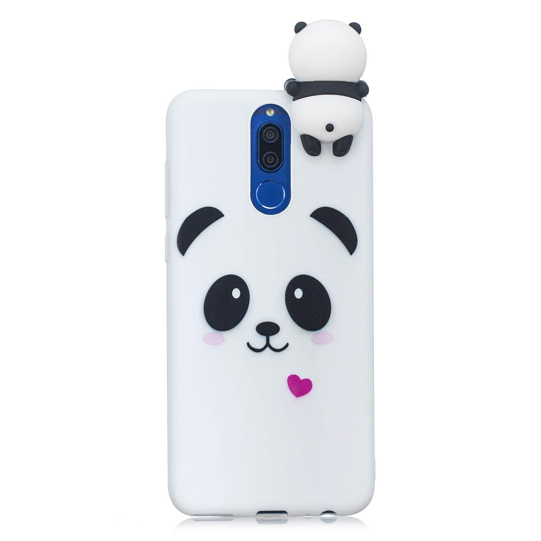 HopMore Coque Huawei Mate 20 Lite Silicone Souple 3D Design Motif Panda Animal Drôle Mignonne Etui Mate 20 Lite Étui Antichoc Ultra Mince Fine Gel Bumper Slim Case Housse Protection pour Fille Femme - Panda Blanc