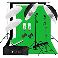 CanadianStudio Photo Studio Continuous Umbrella 1000 watt equivalent output Lighting kit Black/White/Green High Key Muslin Backdrop Stand light Kit for Portrait Photography,Studio and Video Shooting