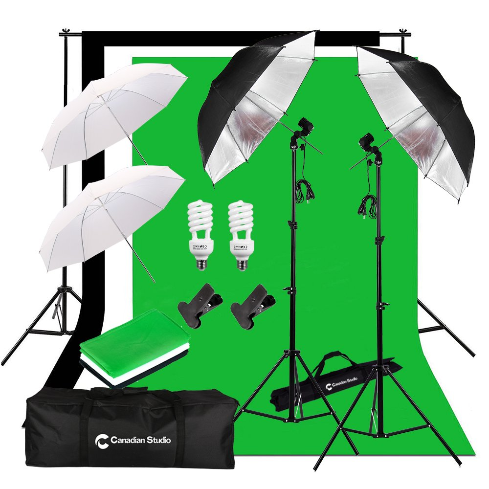 CanadianStudio Photo Studio Continuous Umbrella Lighting kit Black/White/Green High Key Muslin Backdrop Stand light Kit for Portrait Photography, Studio and Video Shooting VL-2054