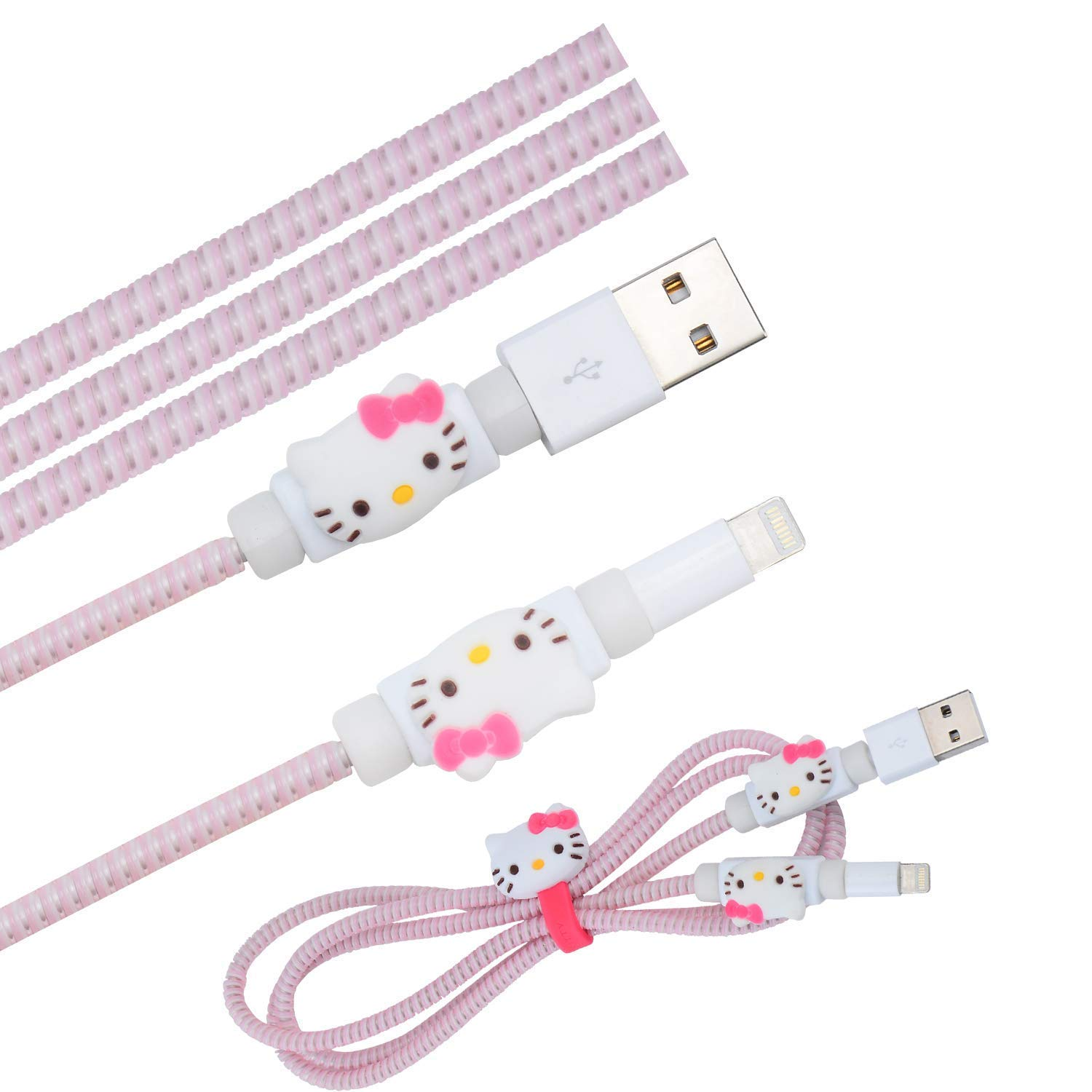 Cute Blue Stitch Cartoon Animal Kawaii Spring Cable Protector Cover Saver Sleeves//Cord Management+Charging Data USB Cable+Cable Ties Reusable Fastening//Cable Straps Organizer for Apple iPhone iPad