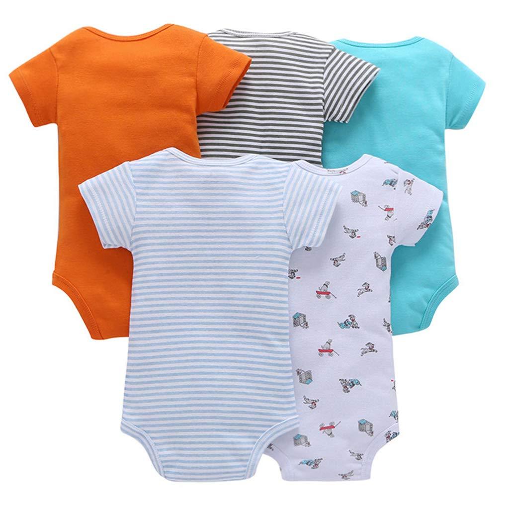 5er Pack Baby Jungen Kurzarm Body Kleinkind Strampler Baumwolle Weste Sets 3-6 Monate