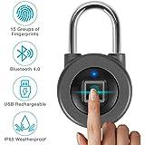 Fingerprint Padlock,AICase Bluetooth Thumbprint Lock,Support USB Charging IP67 Waterproof Smart Anti-Theft Keyless Lock…