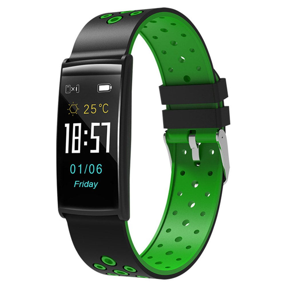 025 KTYX New Smart Bracelet R11 Color Screen Heart Rate Blood Pressure Monitoring Large Screen Bluetooth Waterproof Outdoor Sports Bracelet Smart Watch (Color : Green) by 025