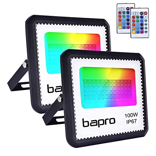Foco 2X100W LED RGB con control remoto,proyector IP67 impermeable LED para exteriores Proyector LED 16 colores 4 modos LED reflector Luces de humor ...