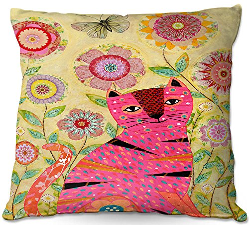 Decorative Woven Couch Throw Pillows from DiaNoche Designs by Sascalia Pink Cat Butterfly Home Decor Unique Designer Artistic Stylish Bedroom Ideas