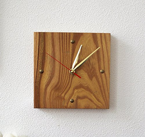 WoodenStuff Wood Wall Clock Unique Luxury Style Novelty Frame Wall Mounted Decorative Clocks Design Non -Ticking Silent Quiet Square Wooden Small Orange Prime for Living Room Bedroom Kitchen Decor