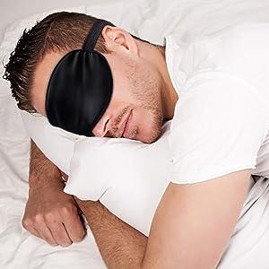 Sleep Mask Night Cover Eye Sleeping Silk Satin Masks for Women Men, Blindfold for Airplane Travel Adjustable Strap, Black