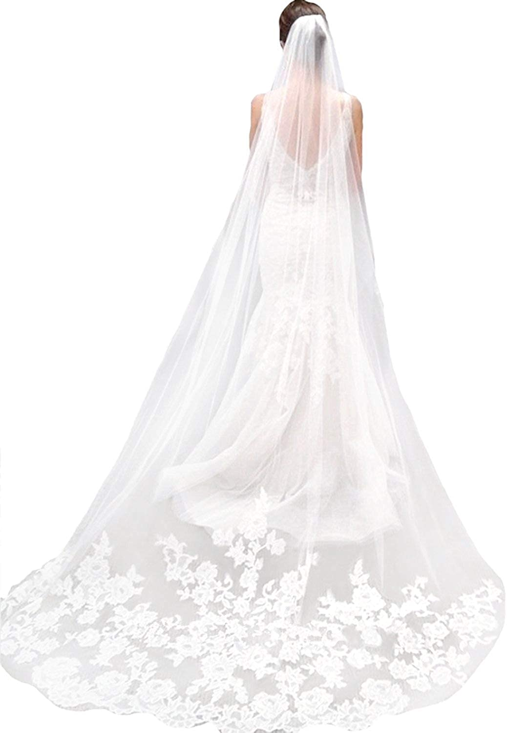 """118/"""" Ivory White Long Wedding Bridal Veils Lace Edge Cathedral Veils with Comb"""