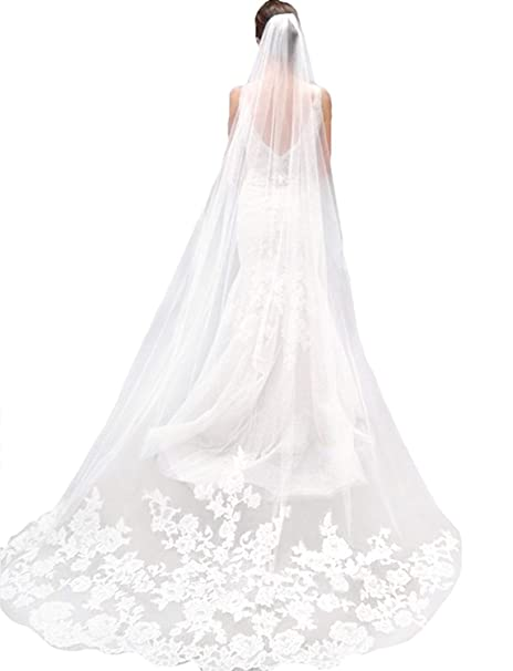 1f0fd5543b Ivory Lace Edge Cathedral Length Wedding Bridal Veil with Comb at ...