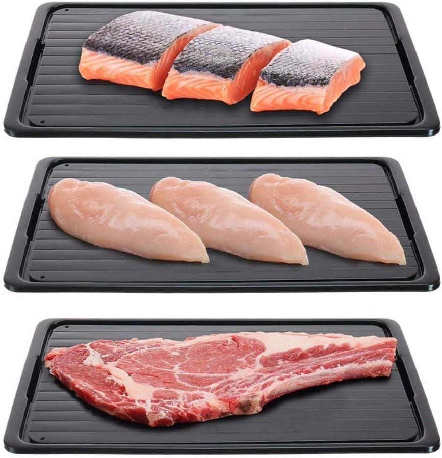 Schnellauftautablett Auftauen von Tiefk/ühlkost Steak schwarz DX Auftautablett 230 * 165 Huhn und Fisch Auftauteller f/ür Fleisch schnelles Auftautablett f/ür Tiefk/ühlkost 2 mm