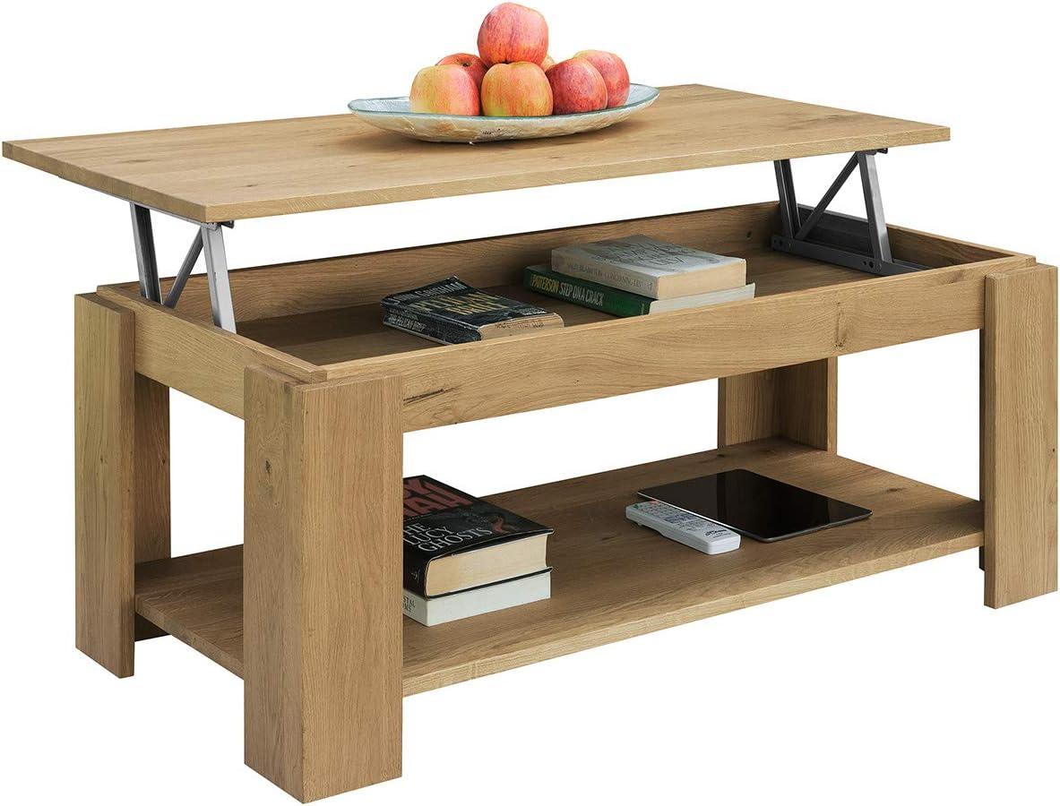 COMIFORT Mesa de Centro Elevable - Mueble con Revistero de Estilo ...