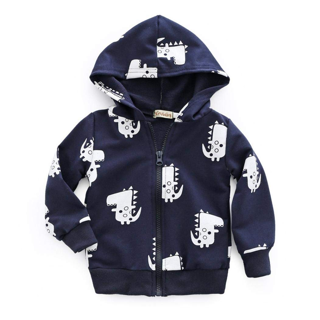 kaiCran Baby Clothes Boys,Infant Toddler Baby Boys Cartoon Dinosaur Hooded Zipper Tops Clothes Jacket Coat