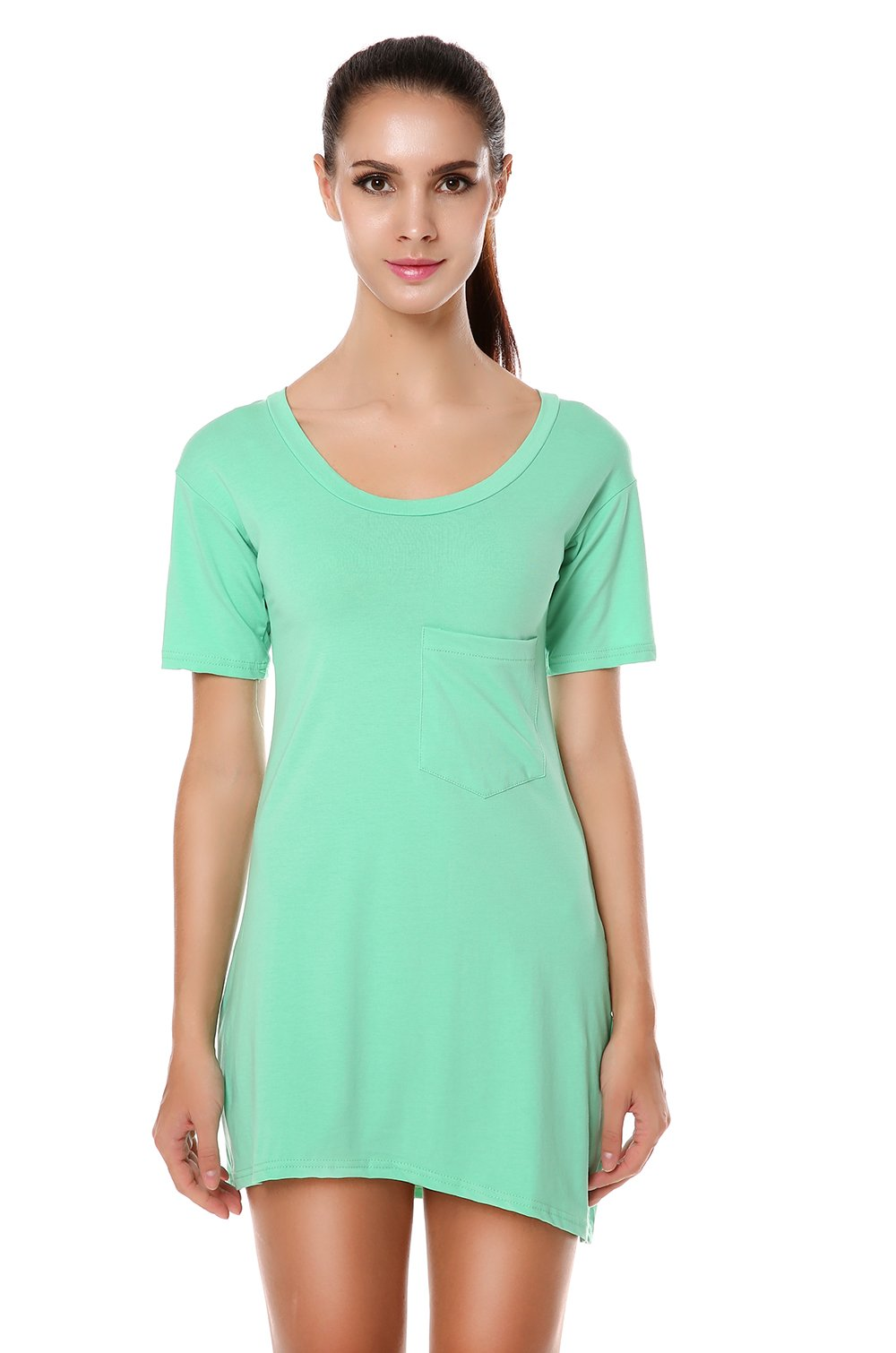 Meaneor Women\'s Short Sleeve Loose Long T-Shirts Top Blouse Shirts Plus Green