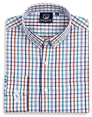 Supyach Men's Classic Fit 100% Cotton Long Sleeve Plaid Shirt