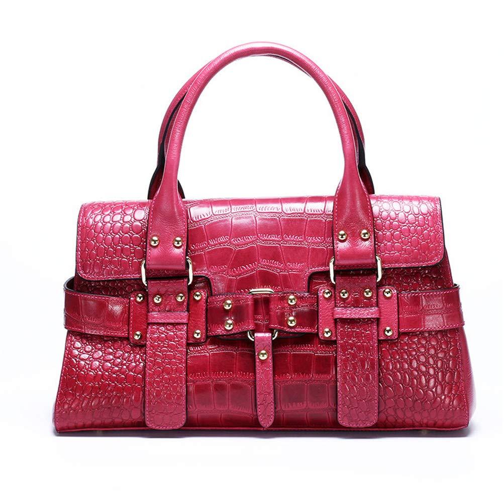 Purple Women Oil Wax Cowhide Cross Body Messenger Top Handle Bags Retro Genuine Leather Crocodile Pattern Luxury Shoulder Tote Handbag Purple