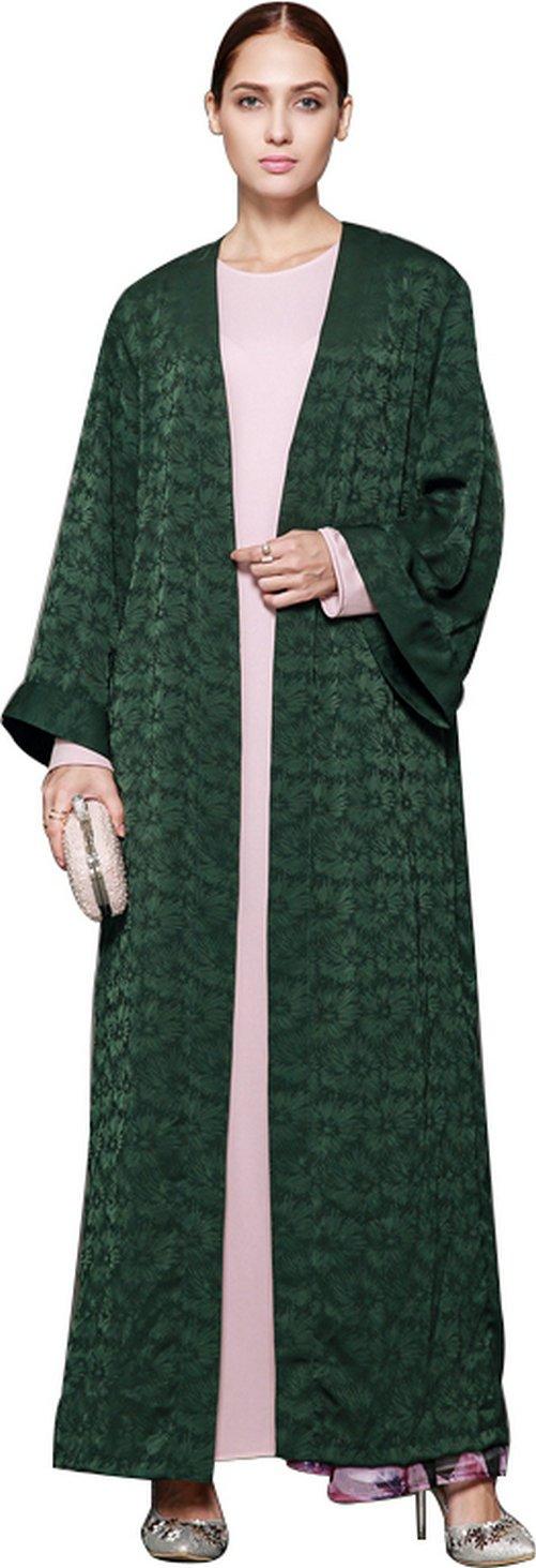 YI HENG MEI Women's Elegant Modest Muslim Clothing Full Length Open Front Floral Abaya Coat,Dark Green