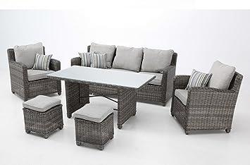 Set sofas terraza comedor rattan bahamas: Amazon.es: Jardín