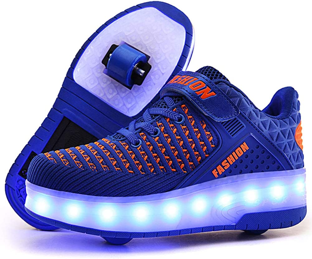 AIkuass Roller Shoes for Boys Kids USB Rechargeable LED Light Up Wheely Shoes Wheel Skate Sneaker Shoes 1.5 Little Kid// EU33,Blue