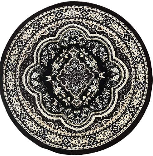 Traditional Round Persian Oriental Rug Black Green Brown Beige Design 520 5 Feet 3 Inch X 5 Feet 3 Inch