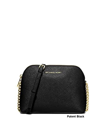 0fc8ba735b68 Amazon.com  MICHAEL Michael Kors Cindy Large Dome Crossbody Leather Black   Clothing