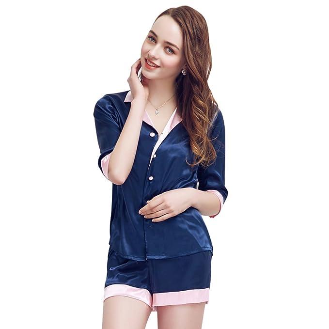 TieNew Mujeres Set de pijamas de satén corto,pijama Ropa de dormir Loungewear, Las