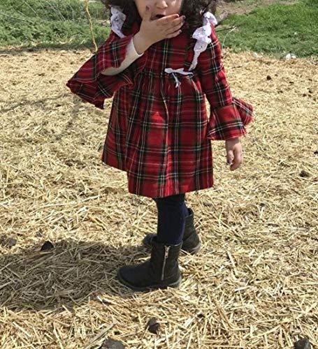Carolilly Vestiti Sorella Grande e Piccola Natale Neonata Bambina Pagliaccetto in Pizzo Abito Principessa a Quadri Rosso… 3