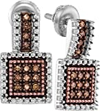 925 Sterling Silver Round Chocolate Brown Diamond Square Cluster Earrings (1/5 Cttw)