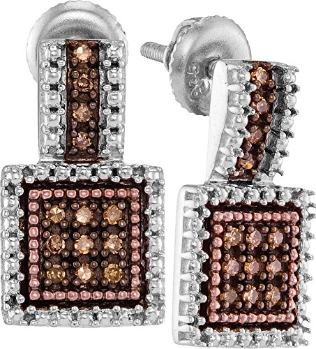 925 Sterling Silver Round Chocolate Brown Diamond Square Cluster Earrings (1/5 Cttw) by Sonia Jewels