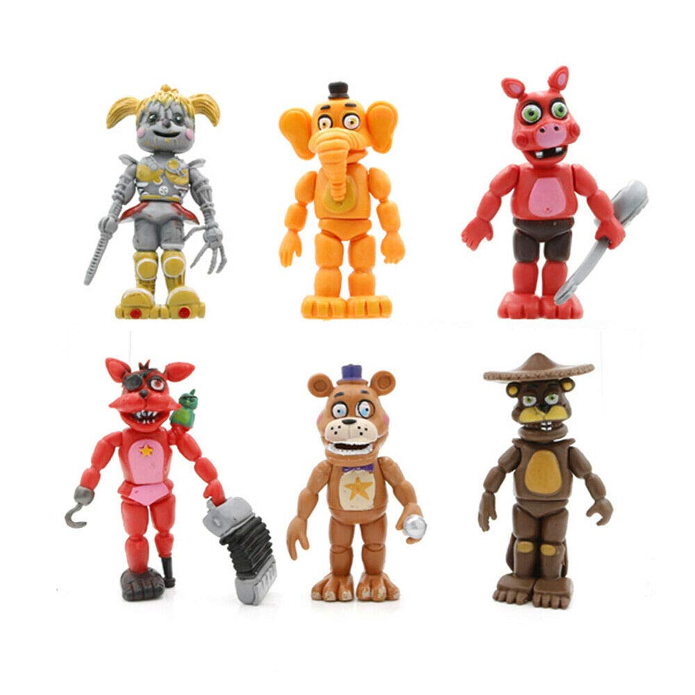 Jubasix Set of 6 pcs FNAF Action Figures Toys Dolls Gifts Cake Toppers 6 inches
