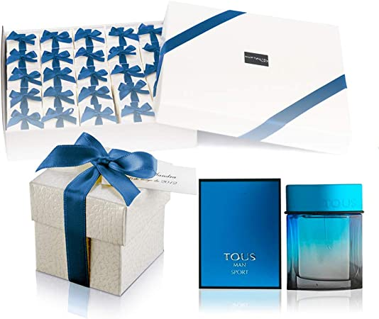 Pack 25 perfumes miniaturas originales para hombre como detalles para bodas personalizados Tous Man Sport Eau de toilette 4,5 ml. para regalar: Amazon.es: Hogar