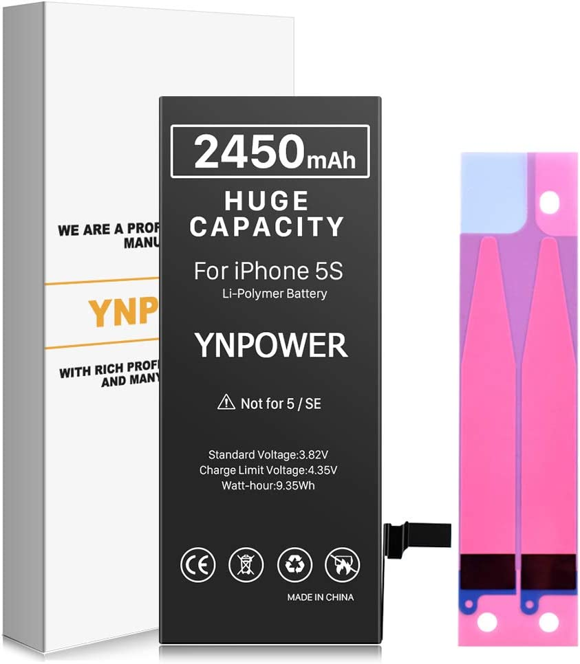 YNPOWER Battery for iPhone 5S and 5C, 2450mAh High Capacity Replacement Battery Compatible with iPhone 5S / 5C, 0 Cycle Li-Polymer Battery for iPhone 5S / 5C - (Not 5 or SE)