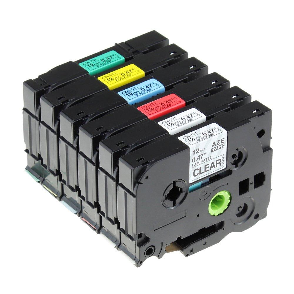 6x Casete de Cinta para Tze-231, Brother P-Touch Tze-131, Tze-231, para Tze-431, Tze-531, Tze-631, Tze-731, cinta laminada estandár, Negro sobre Blanco/ Rojo/ Azul/ Transparente/ Amarillo/ verde, 12 mm x 8 m ad9eb9