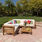 Great Deal Furniture Ravello | 4-Piece Outdoor Acacia Wood Sectional Set w/Water Resistant Cushions | in Teak Finish/Beige