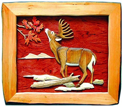 Zeckos Wood Wall Sculptures Buck Eating Hand Crafted Intarsia Wood Art Wall Hanging 20 X 18 X 2 Inches 18 X 16 X 1 Inches Brown