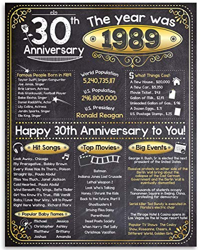 Happy 30th Anniversary (Thirty, 30) - Year 1989-11x14 Unframed Art Print - Makes a Perfect Anniversary Gift Under $15 for 30th Anniversary Celebrants ()