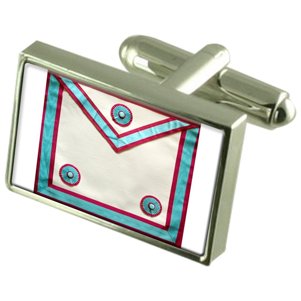 Select Gifts Masonic Mark Member Regalia Apron Cufflinks Crystal Tie Clip Bar Box Set Engraved