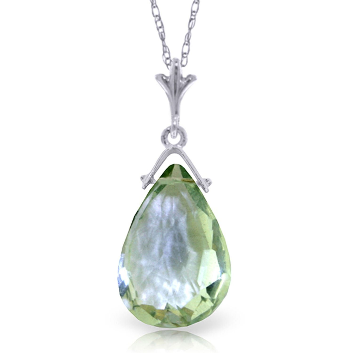 ALARRI 5.1 Carat 14K Solid White Gold Necklace Briolette Green Amethyst with 18 Inch Chain Length