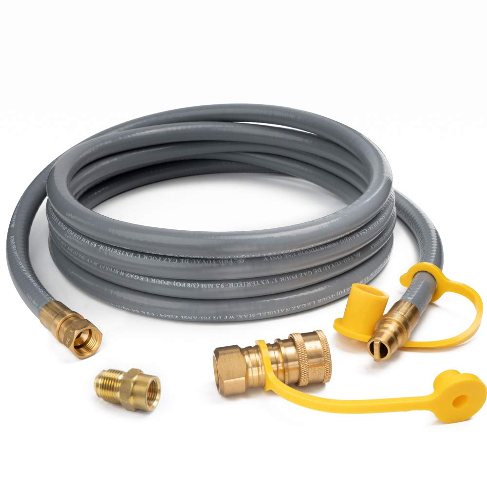 GASPRO 12 Feet 1/2'' ID Natural Gas Hose, Propane Gas Grill Quick Connect/Disconnect Hose Assembly with 3/8'' Female Flare by 1/2'' Male Flare Adapter for Outdoor NG/Propane Appliance