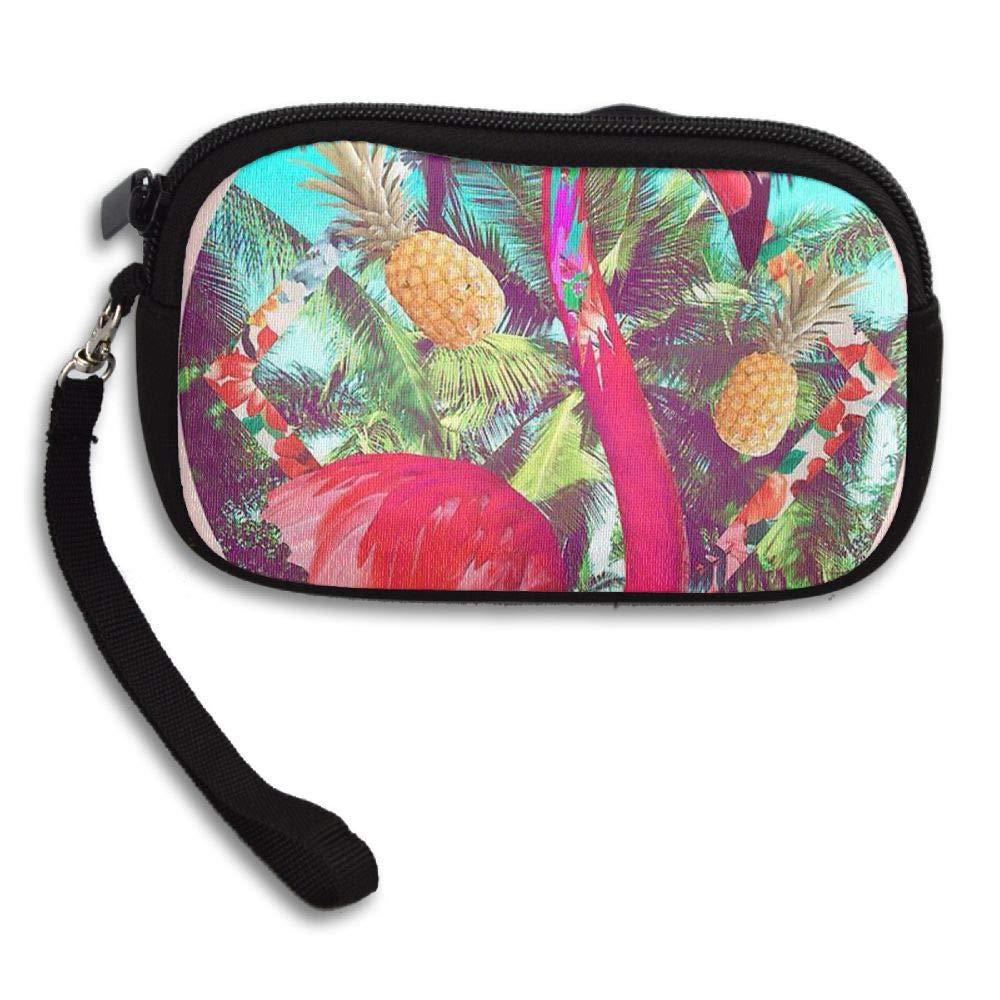 HACVREQ Unisex Personalized Wallet,Pink Flamingo with Flaowers Purse Bag Woman Ladies Men Gentlemen