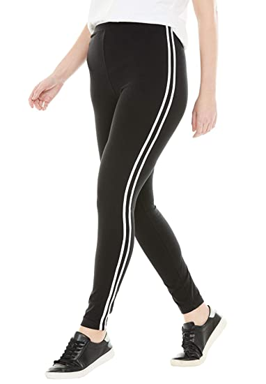7ab6dc69540 Woman Within Women s Plus Size Stretch Cotton Side Stripe Legging at Amazon  Women s Clothing store