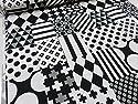 北欧風モノトーンシリーズ マルチパターン ブラック オックス生地 |生地|布|コットン|綿|エプロン|インテリア|カバー|シーツ|カーテン|目隠し|実写|そっくり|