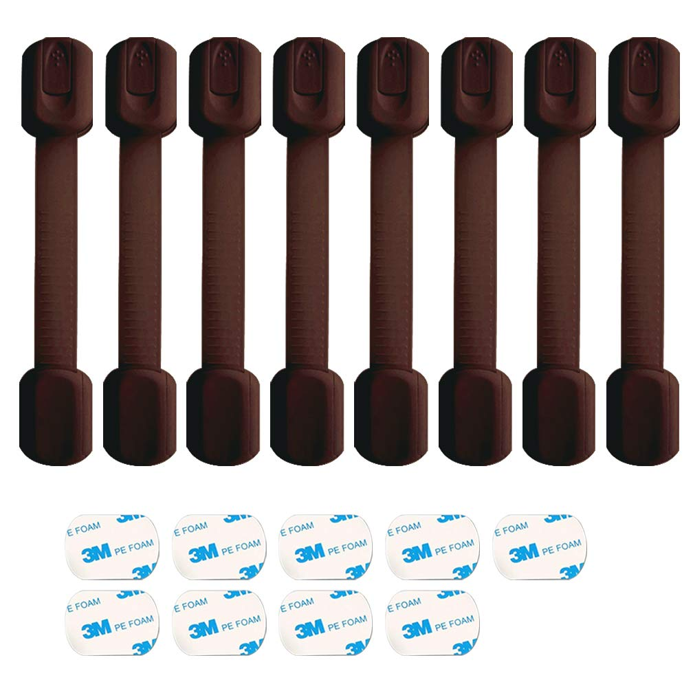 Baby Safety Locks - Child Proof Adjustable Latches for Cupboard Doors and Drawers Dresser Doors Closet Toilet Seat Oven Refrigerator Appliances,8 Pack Brown,Free 9 Extra 3M Adhesive Pads