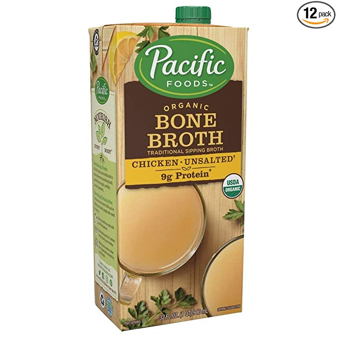 Amazon.com : Pacific Foods, Organic Bone Broth, Original Chicken by Pacific Foods 32oz Cartons, 12-Pack Keto Friendly : Grocery & Gourmet Food