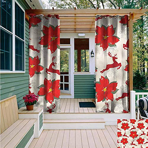(Beihai1Sun Outdoor Curtain Panel for Patio,Christmas Poinsettia Reindeer,Great for Living Rooms & Bedrooms,W84x72L)