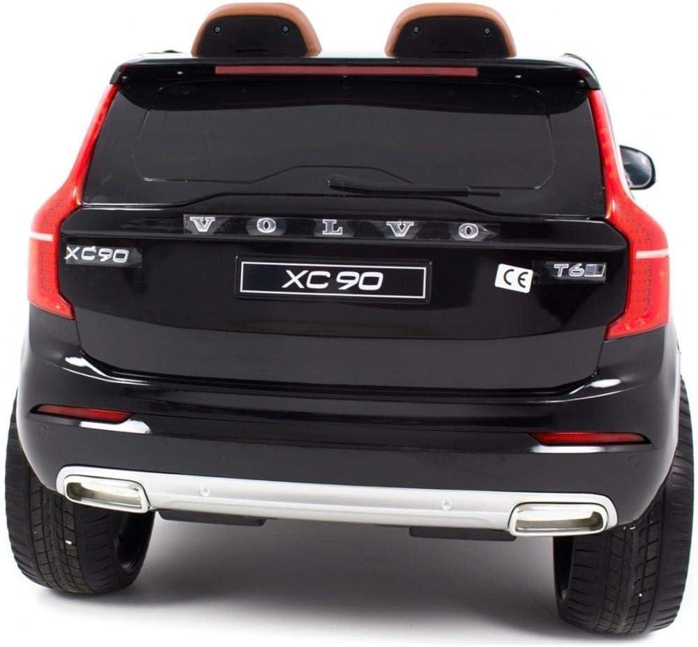 Babycar Auto per Bambini Volvo XC90 Nero 12 Volt Potenziata con Telecomando sedili in Pelle Marroni e Chiave di accensione