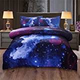 A Nice Night Galaxy Bedding Sets 3D Printed Space Quilt Set Queen (A, Full)